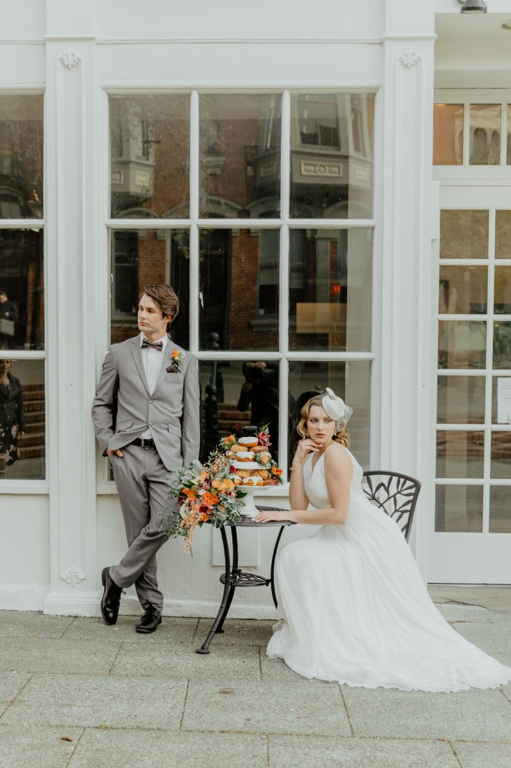 Coffee Love in Comox Valley Luke Liable Photography bride sitting at cafe table