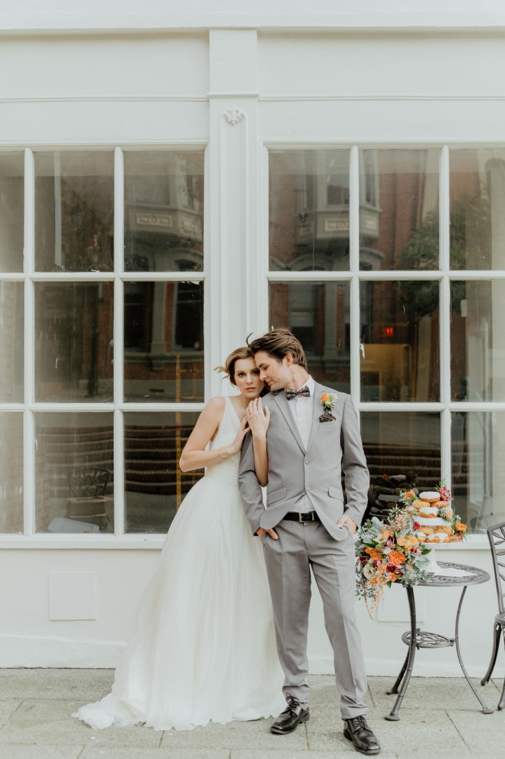 Coffee Love in Comox Valley Luke Liable Photography bride and groom share a moment
