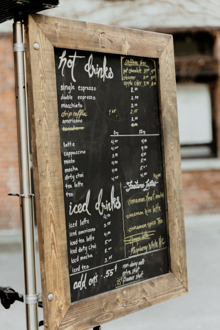 Coffee Love in Comox Valley Luke Liable Photography chalk board drink menu