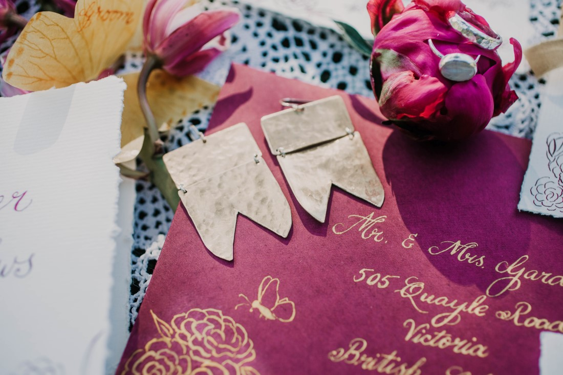 A Styled Elopement Burgundy Paper Suite by Penned Creations Vancouver Island