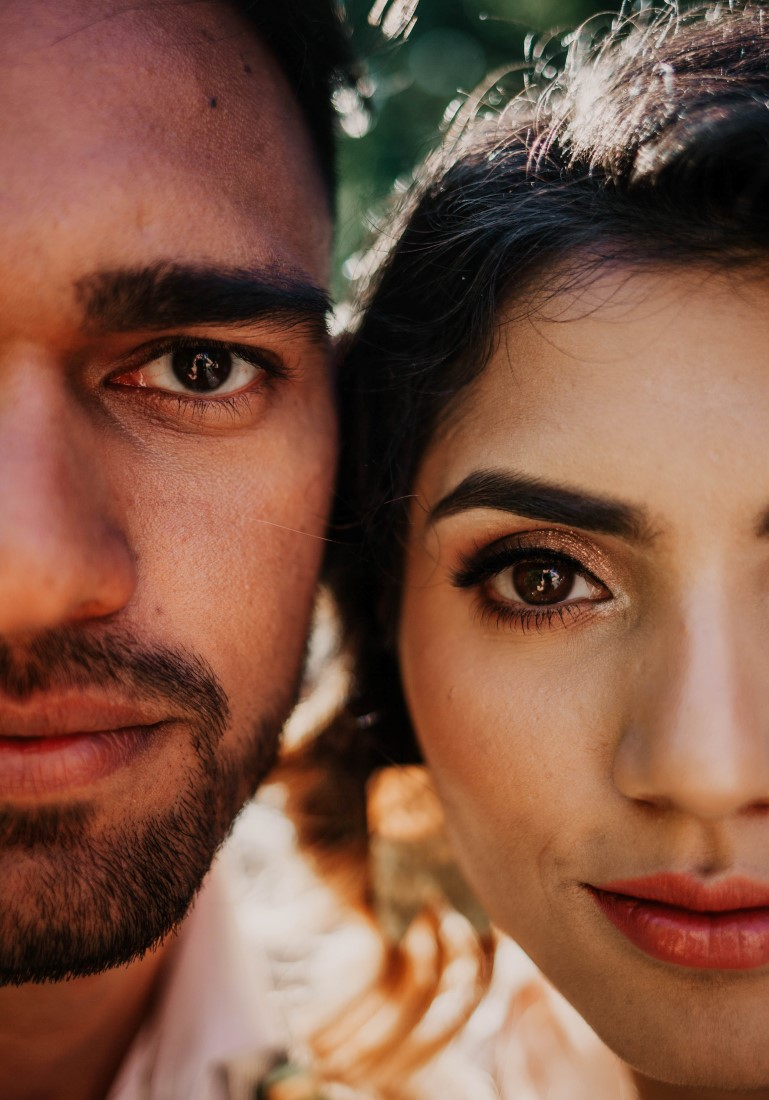 Close up of newlyweds faces by Kelsey Lageri Photography