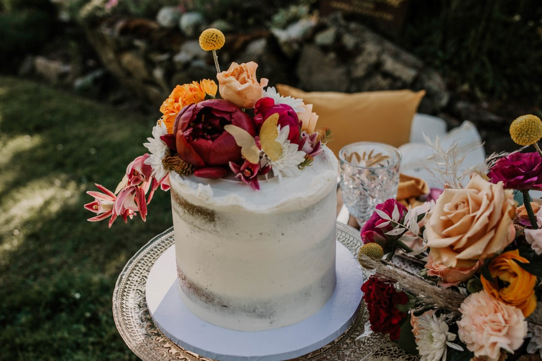 Wedding Cake with antique roses by Cobble Hill Cake Co Vancouver Island