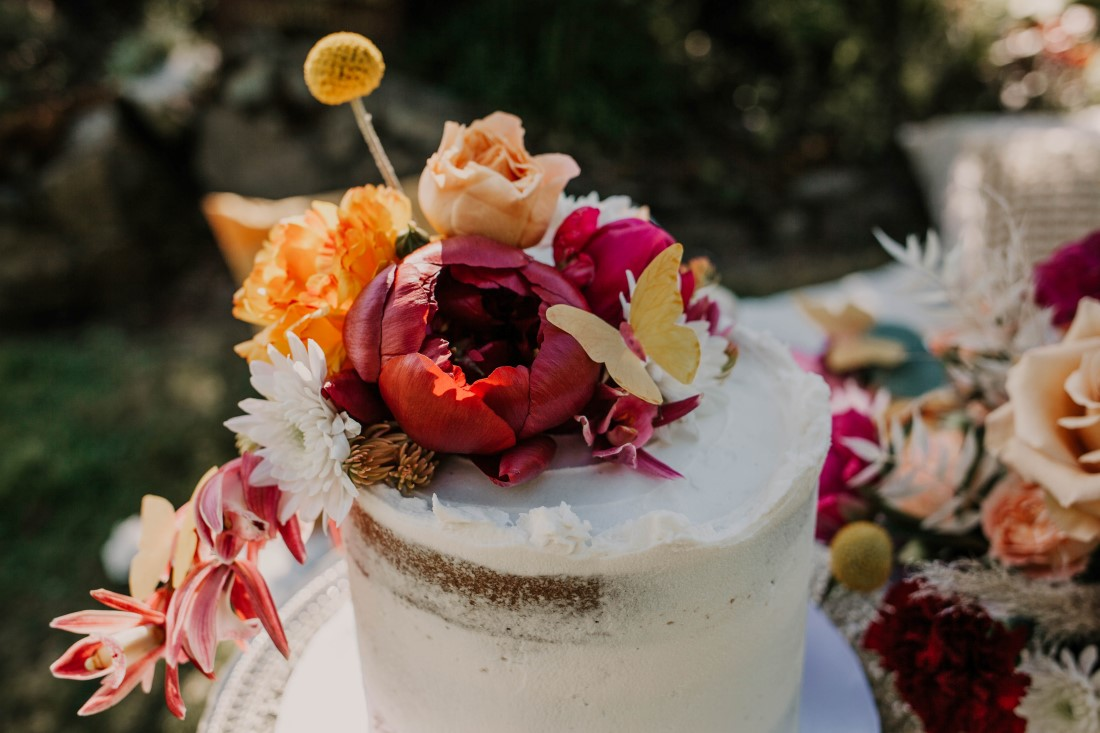 Wedding Cake with antique roses and paper butterflies by Cobble Hill Cake Co Vancouver Island