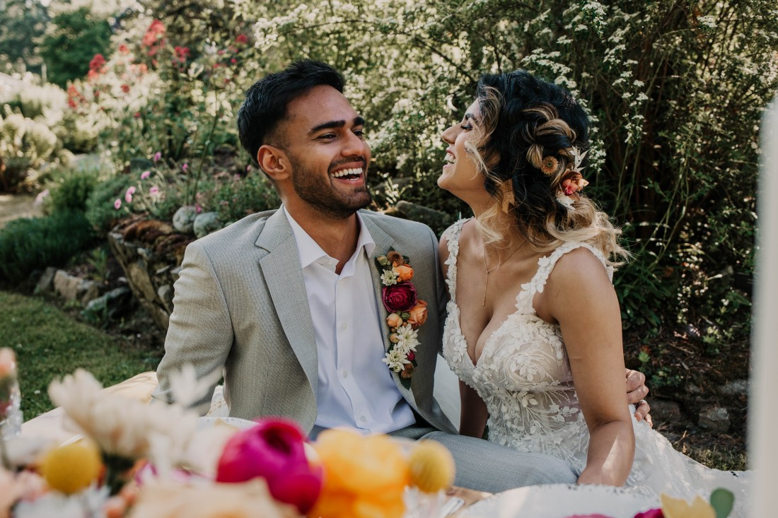 A Styled Elopement at HCP Gardens newlyweds at sweetheart table