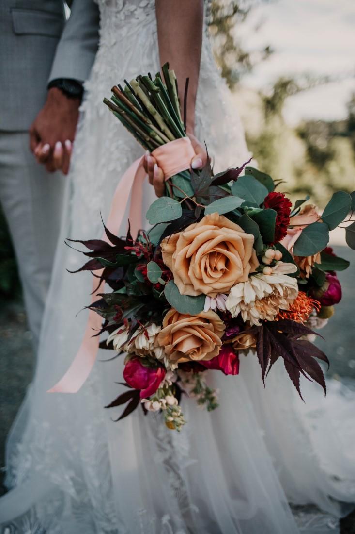 Antique Rose Bridal Bouquet by Brown's the Florist