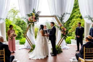 Wedding ceremony on Hycroft Manor Terrace in Vancouver