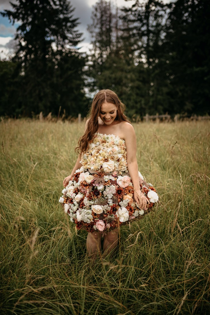 Bride in flower gown by Shantina Rae Photography