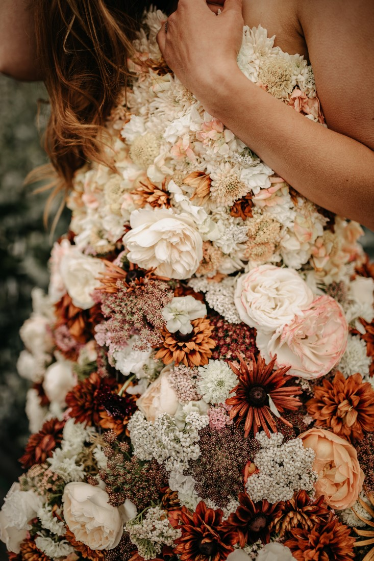 Lush bridal bouquet by Ingrid Rose Artistry Vancouver Island