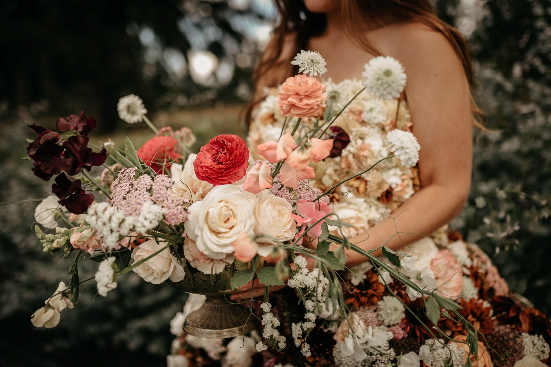 Flirty Floral Gown at Dandelion Farm with Ingrid Rose Artistry on Vancouver Island