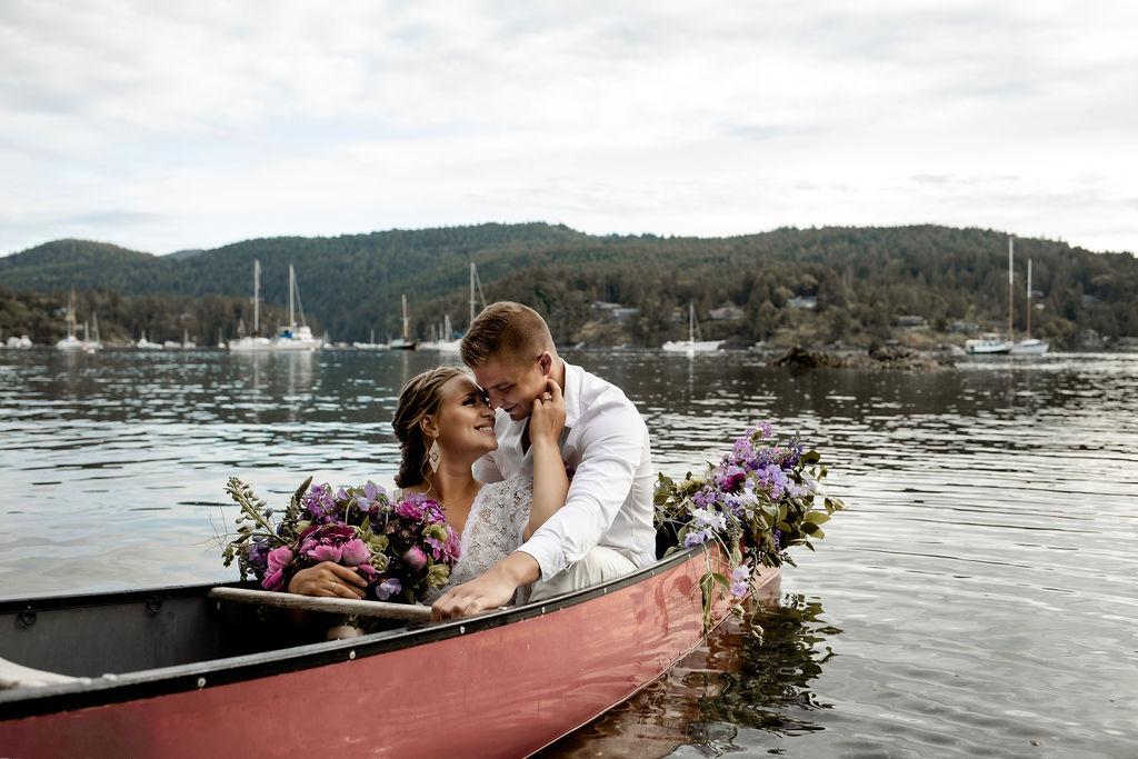 Canoe for Two wedding kisses